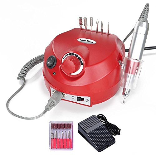 GHP 25000RPM Red 110V 15W Electric Manicure Nail Drill Machine with Handpiece Cradle