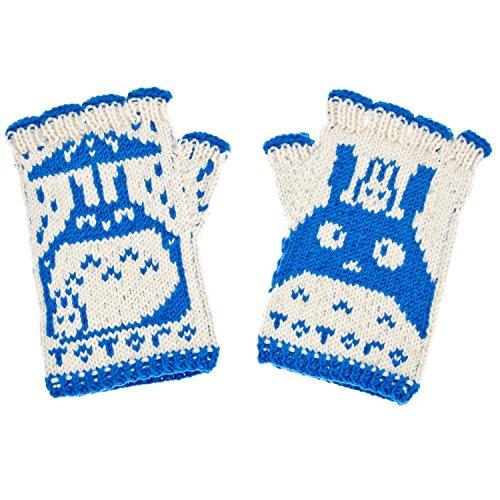 Totoro Fingerless Gloves Hand Knit From Pure Merino Wool Totoro