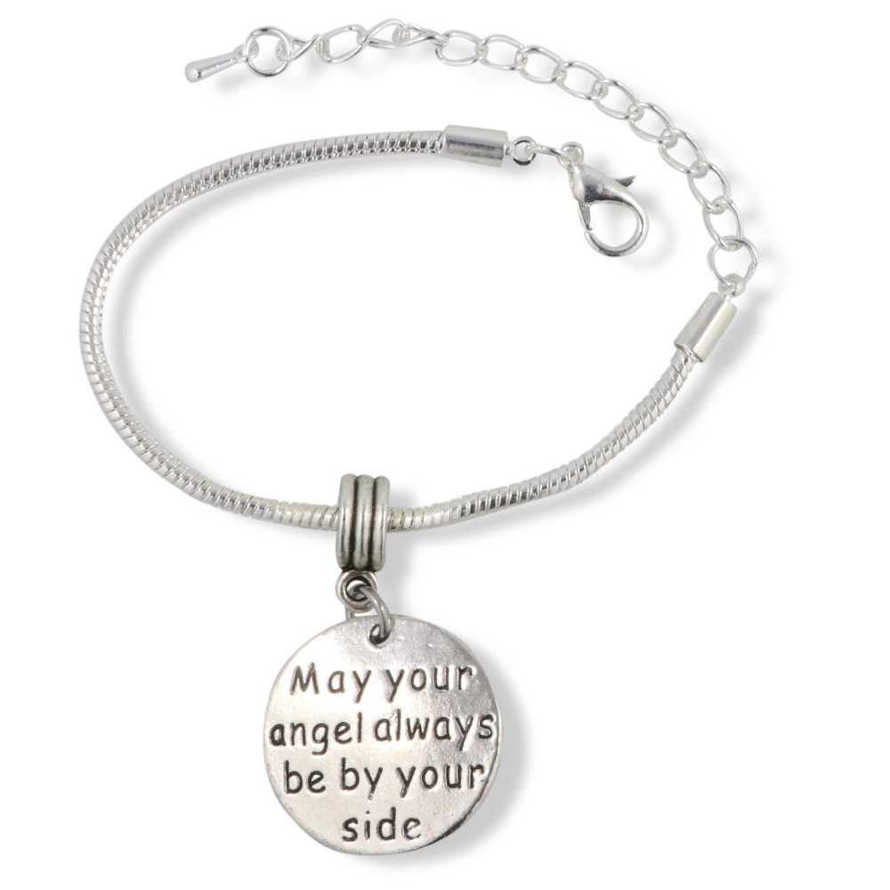 Emerald Park Jewelry May Your Angel Always be by Your Side Snake Chain Charm Bracelet