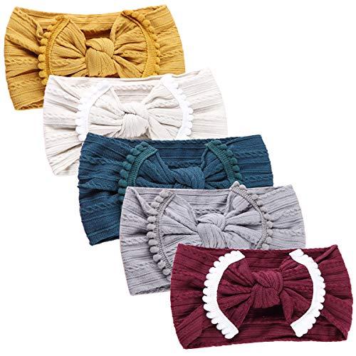 Baby Nylon Elastic Knotted Headbands Baby Head Wraps Baby Headbands Bows (AM021) ()