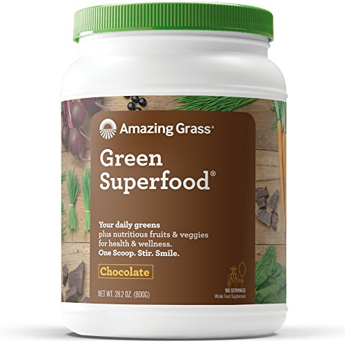 Amazing Grass Green Superfood Organic Powder with Wheat Grass and Greens, Flavor: Chocolate, 100 Servings by Amazing Grass