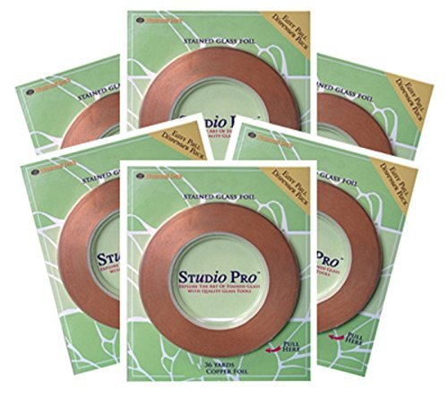 STUDIO PRO STAINED GLASS SUPPLIES 7/32'' BLACK BACK COPPER FOIL 6 ROLLS by studio pro