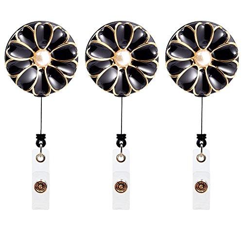 3 Porta credencial retráctil con forma de flor (negro)