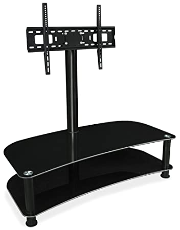 mountit glass shelf tv stand with mount tv mount center