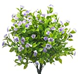 Artificial Plants Flowers, 4pcs Faux Plastic Lilacs Flower Fake Plant Shrubs Clove Flower Simulation Greenery Bushes Indoor Outside Home Garden Office Wedding Decor (Purple-White)