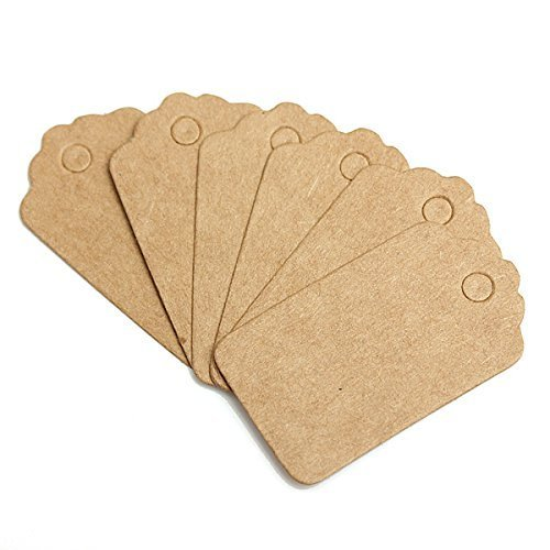 Teensery 100 Pcs Mini Scallop Kraft Paper Label Tag Party We