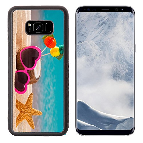 Mexican Sand Shape (Luxlady Samsung Galaxy S8 Plus S8+ Aluminum Backplate Bumper Snap Case IMAGE ID: 19616576 Coconut cocktail on tropical white sand beach heart shape funny sunglasses)