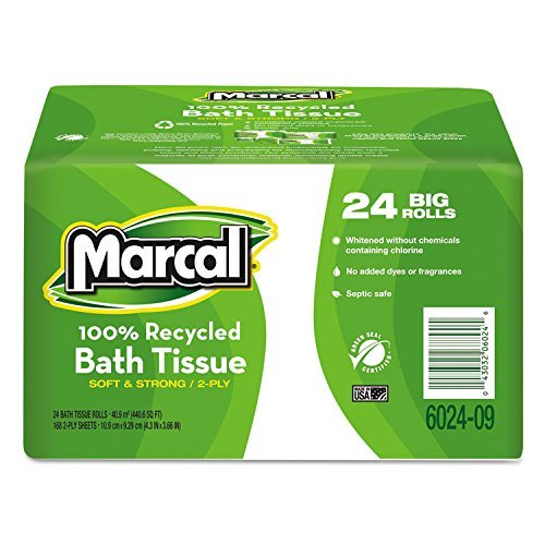 100% Recycled Convenience Bundle Bathroom Tissue Roll, 168 Sheets, 24 Rolls/CT by Marcal