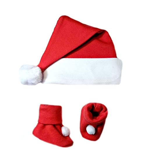 89b0f4baa10 Amazon.com  Jacqui s Unisex Baby Christmas Santa Hat and Booties Set ...