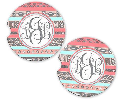 BrownInnovativeMedia Aztec Tribal Monogram Coral Sandstone Cup Holder Matching Coaster Set