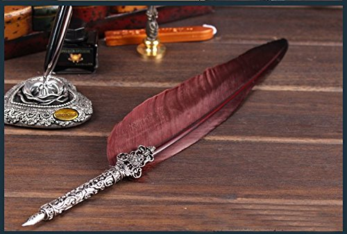GC-Retro-Feather-Copper-Pen-Carving-Stem-Metal-Nibbed-Sealing-Stamp-Wax-Ink-Writing-Quill-LL-52