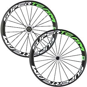 Superteam Carbon Fiber Road Bike Wheels 700C Clincher Wheelset 50mm Matte 23 width (Green and White)