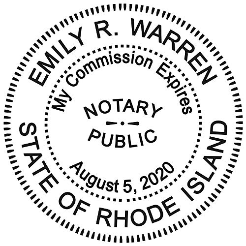 (Round Notary Stamp for State of Rhode Island- Self Inking Stamp - Top Brand Unit with Bottom Locking Cover for Longer Lasting Stamp - 5 Year Warranty )
