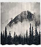 nature shower curtains  National Parks Home Decor Shower Curtain by, Canadian Smokey Mountain Cliff Outdoor Idyllic Photo Art, Fabric Bathroom Decor Set with Hooks, 70 Inches, Black and White
