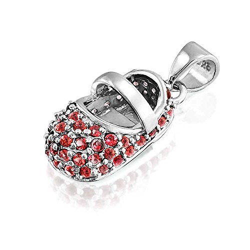 Bling Jewelry Simulated Garnet Baby Shoe Sterling Silver Pendant (Sterling Silver Booties)
