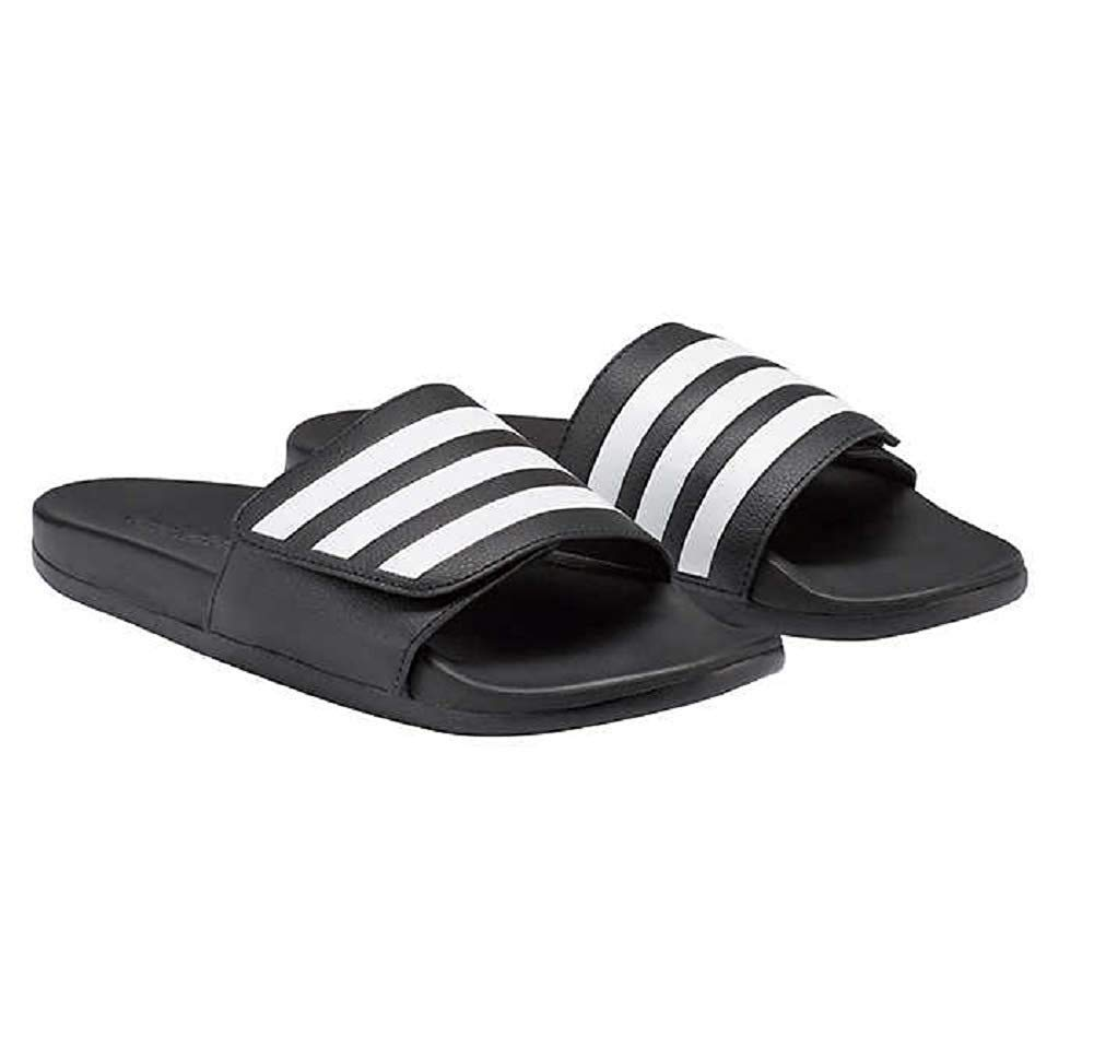 Adidas Men's Adilette Slide Comfort Lightweight Sandal (9), Black/White by adidas
