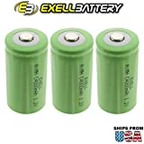#4: 3x Exell 1.2V 4000mAh NiMH C Size Rechargeable Button Top Batteries for use with high power static applications (Telecoms, UPS and Smart grid), radio controlled devices, electric tools