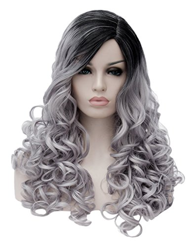 Topwigy Wavy Wig Fashionable ,  Women's, Long , Black/Silver (Black Long Wig With Two Braids)