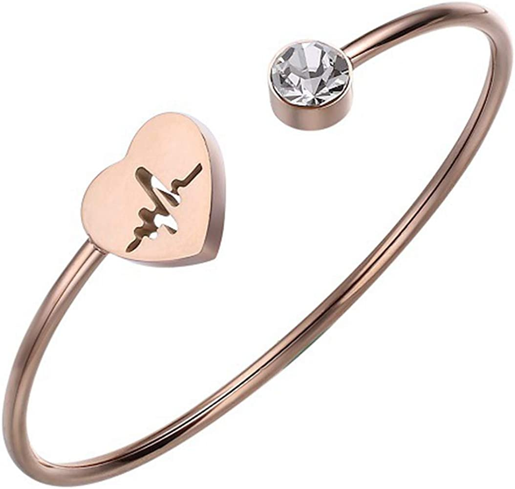 Jude Jewelers Stainless Steel Roman Numbers Round Charm Statement Wedding Party Open Cuff Bangle Bracelet
