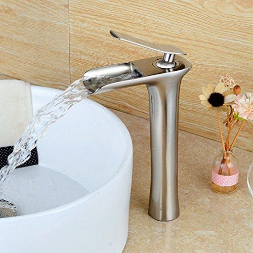 best LightInTheBox Contemporary Waterfall Vessel Single Handle One Hole in Nickel Brushed Bathroom Sink Faucet
