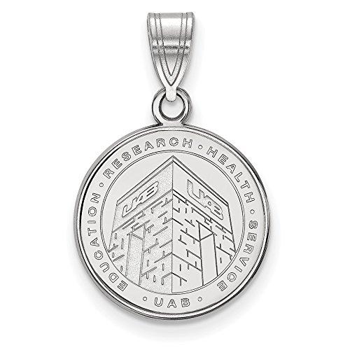 Solid 925 Sterling Silver U of Alabama at Birmingham Medium Crest Pendant (15mm x 24mm) (Solid Crest Silver Pendant Sterling)