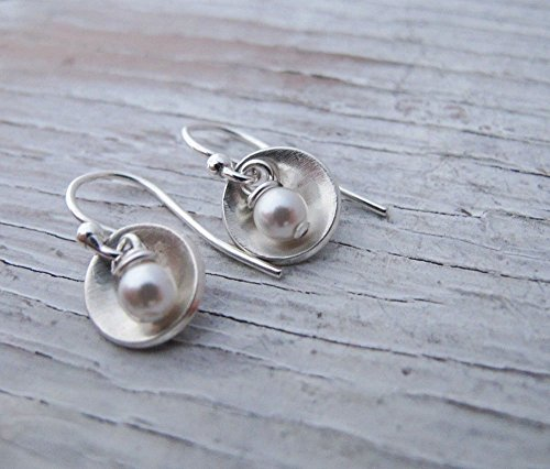(Sterling Silver Dangle Earrings, Small Cups with Pearl, Bowl Shaped, Tiny, Birthday Gift, Graduation Gift, Gift for Her, READY TO SHIP)