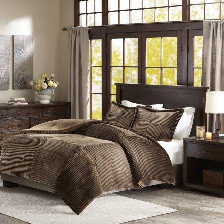 - Home Essence Comfort Classics Williams Corduroy Plush Comforter Mini Set (Full/Queen, Brown)