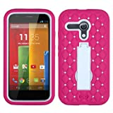Moto G Case (1st Gen & 1st Gen with 4G LTE), Rock Me Wireless (TM) 3 items Bundle - Screen Protector, 24K Gold Plating Electromagnetic Waves Blocking Sticker and Heavy Duty Armor Protective Kick Stand Case for Motorola Moto G 1st Generation. (Hot Pink / White - with Diamonds)