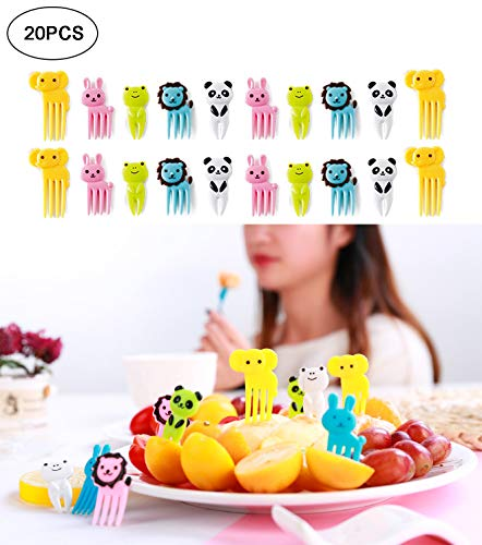 20Pcs Cute Animals Food Fruit Picks and Forks for Kids, Mini Cartoon Animal Toothpick Bento Lunch Decorative …