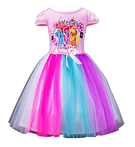1c720b528e212 LEMONBABY Little Girls My Little Pony Sleeveless Princess Birthday Lace  Dress 2y-7y