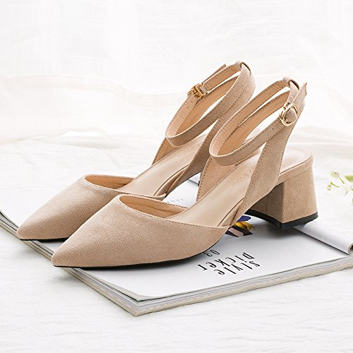 With Female Word Style With High A Jqdyl color Pointed Female Summer heels Heels Thick Sandals Thick Buckle Nude New High aqwPvgOq