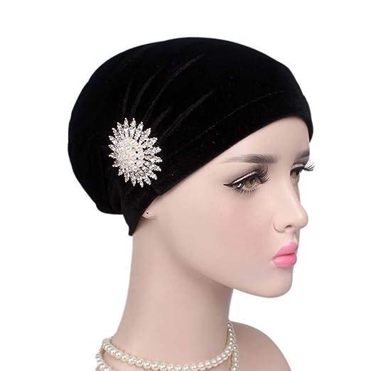 Womens Ruffle Velvet Turban Hijab Chemo Headband Beanie Diamond Head Wrap Cap Hat (One Size