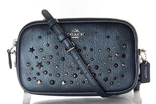 COACH Women's Metallic Star Rivets Crossbody Clutch Sv/Metallic Blue Clutch by Coach
