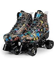 NIKINER Women's Roller Skates, Graffiti Shiny Roller Skates for Adult Women Men - Four-Wheel Roller Skates for Teens and Youth