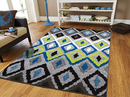 New Fashion Luxury Panal and Diamonds Area Rug Modern Rug For Living Room Area Rugs 8x10 Clearance Grey Cream Blue Green Black Diamond Pattern Carpet , Large 8x11 Rugs