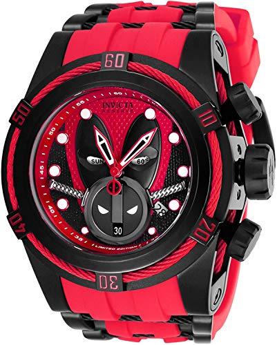 Invicta 27152 Reserve Men's 52mm Marvel Deadpool Bolt Zeus Limited Ed Swiss Ronda Z60 Chronograph Red Strap Watch