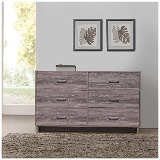 Bedroom Ameriwood Home Colebrook 6 Drawer Wood Dresser, Weathered Oak dresser