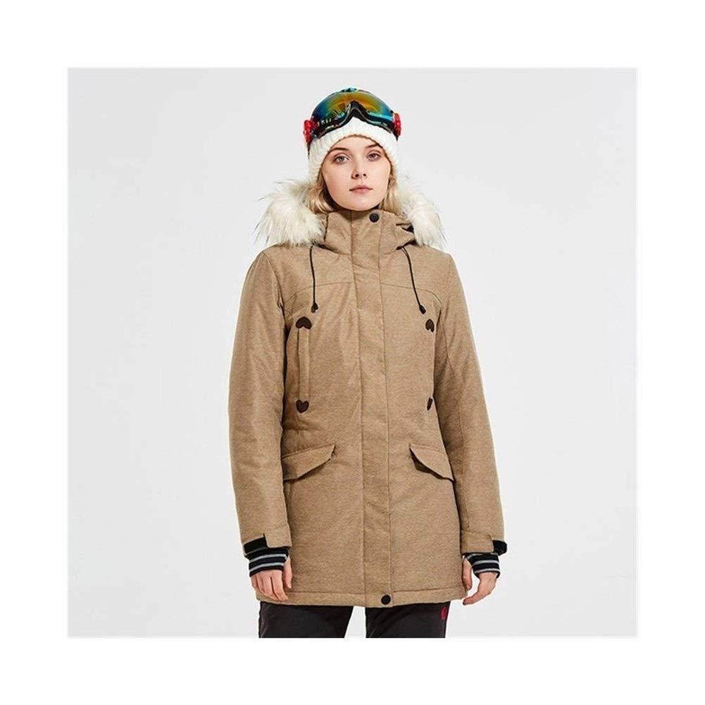 Sceliny 女性のスノーボード服冬コートスキージャケット防風防水屋外スポーツウェア (色 : カーキ, サイズ : XL) カーキ X-Large