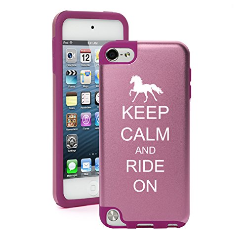 For Apple iPod Touch 5th / 6th Generation Aluminum & Silicone Hard Case Cover Keep Calm and Ride On Horse (Light Pink)