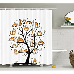 Cat Shower Curtain Family Tree With Birds Crowd Fluffy Nature Purebred Creative Humorous Funny