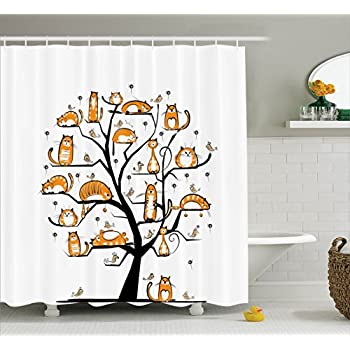Ambesonne Cat Lover Decor Collection, Cat Family Tree With Birds Crowd Fluffy Nature Purebred Creative Humorous Funny Art, Polyester Fabric Bathroom Shower Curtain Set with Hooks, Mustard Black