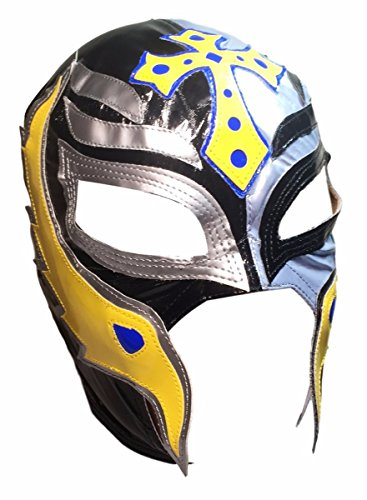 [WWE REY MYSTERIO Youth Size Half Black Half Silver Yellow Trim Replica MASK] (Wwe Girl Costumes)