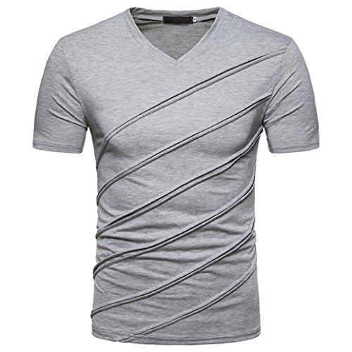 (Litetao New Hot Men Boy T-Shirt, Slim Short Sleeve Diagonal Stripes Workout Top Casual Blouse (S, Gray))