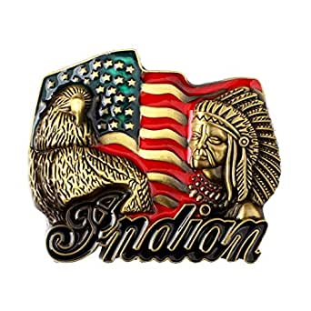 F Fityle Indian Chief Eagle Engraved Western Cowboy Rodeo Mens Womens Motorcycle Biker Belt Buckle Accessory Gift