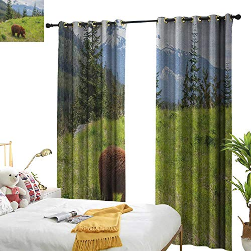 (WinfreyDecor Simple Curtain Bear Wildlife up in The Mountains Theme Furry Animal Carnivore Yellowstone Nature Habitat Set of Two Panels W120 x L96 Green Brown)