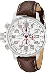 "Invicta Men's 2771 ""Force Collection"" Stainless Steel Left-Handed Watch with Brown Leather Band"