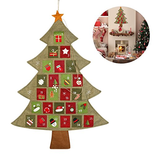 NICEXMAS Christmas Advent Calendar Countdown to Christmas, 25.2 by 35inch -