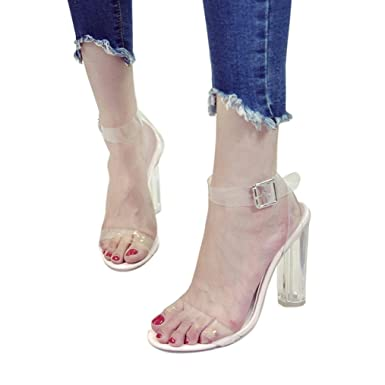 1c97da89376 Women s Chunky Block Strappy Transparent High Heel Pump Sandals Fashion  Ankle Strap Open Toe Shoes (