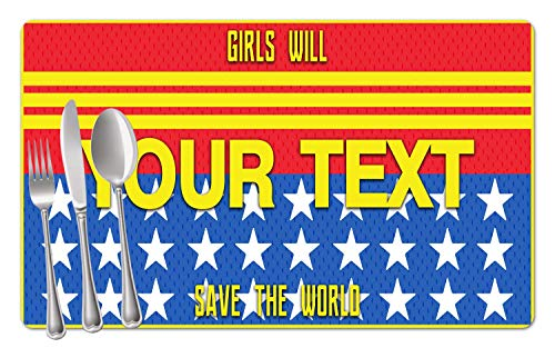 BRGiftShop Personalized Custom Name Superhero Series: Girls Will Save the World Woman Set of 4 Table Placemats -