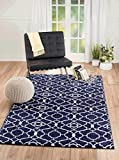 "NEW Summit Elite S 67 Navy Blue White Trellis Garden modern abstract Area Rug (4×5 actual is 3′.8""x5′) Review"